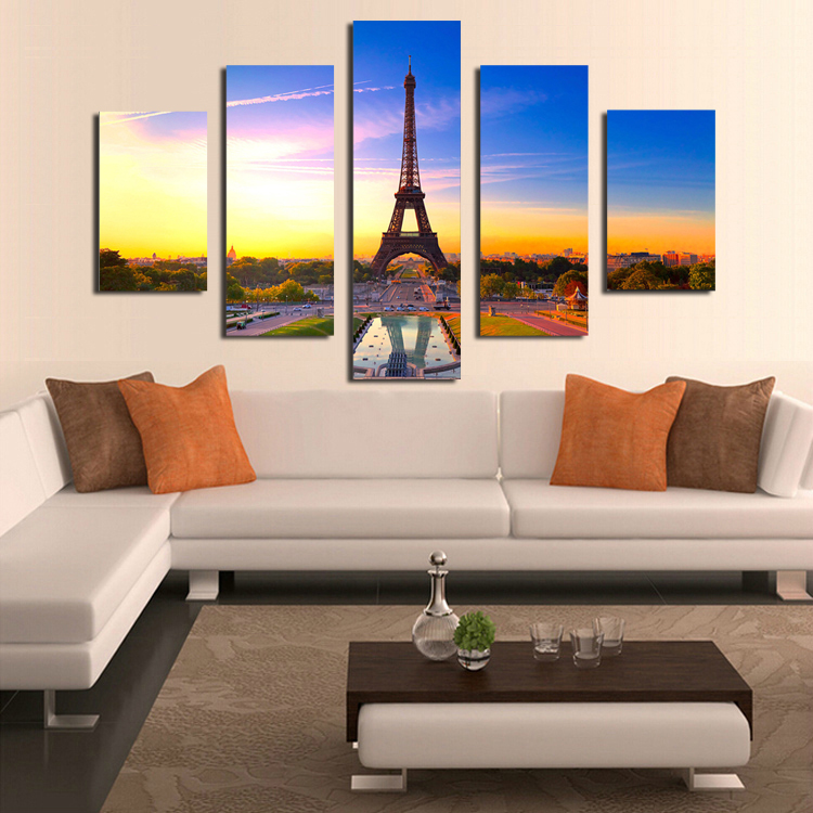 Aliexpress Buy 5 Panels No FrameEiffel Tower Canvas Painting Wall Art Picture Home Decoration Living Room Canvas Print Modern Painting from Reliable