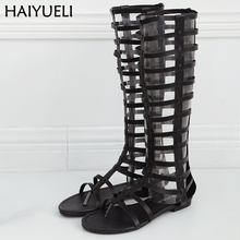 Women Flat Sandals Summer Thong Roman Women's Sandals Leisure Hollow Out Knee Boots Black Gladiator Boots Ladies Flats недорого