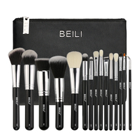 BEILI Professional 15 Pieces Makeup Brushes Set Classic Black Goat Synthetic Hair