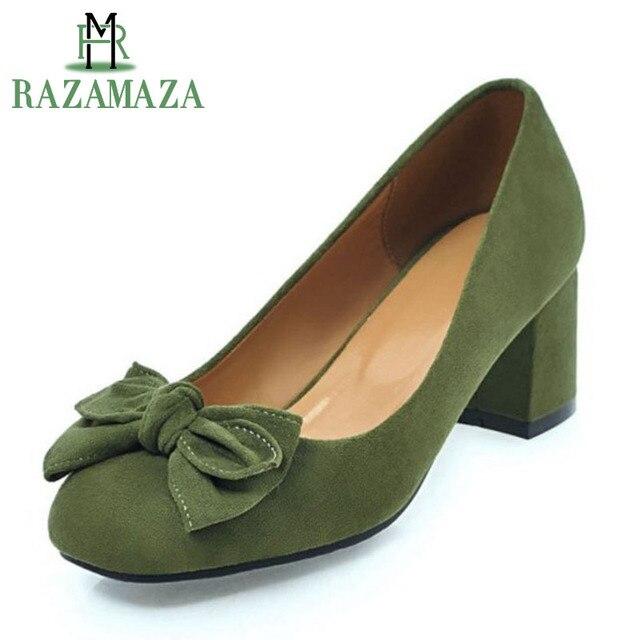 5afd07f10 RAZAMAZA tamaño grande 32-45 Oficina zapatos mujer bombas de tacón grueso  dedo del pie