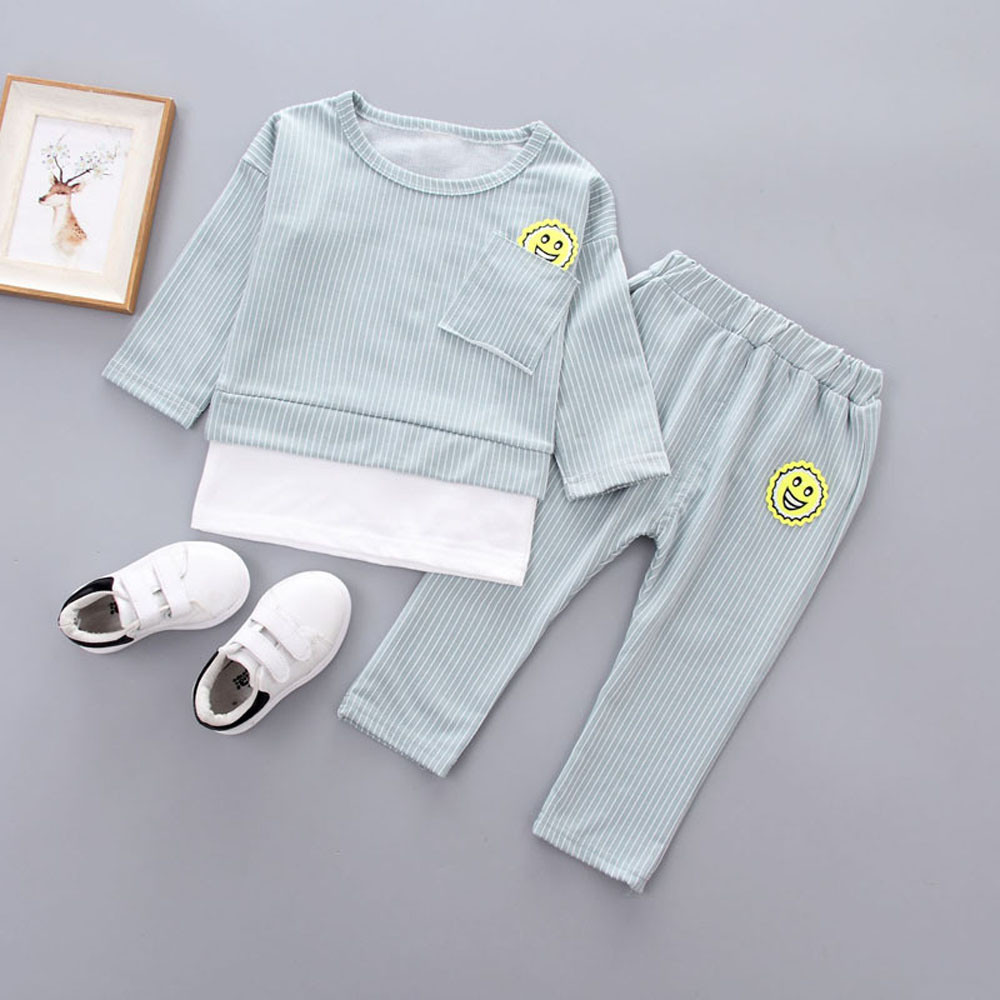 US 2017 New Arrival Autumn Winter Clothes Suit Toddler Kids Baby Boys Girls Outfits Stripe T-shirt Tops+Long Pants Clothes Set