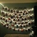 2 M 20led Clip Tarjeta de la Foto decorativa luz de la secuencia de Navidad garland decoración de La Boda home garden party night light 3xAA batería