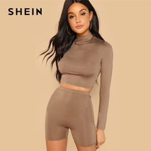SHEIN Coffee Casual Solid Round Neck Long Sleeve Crop Tee And Legging Shorts Set 2018 Autumn