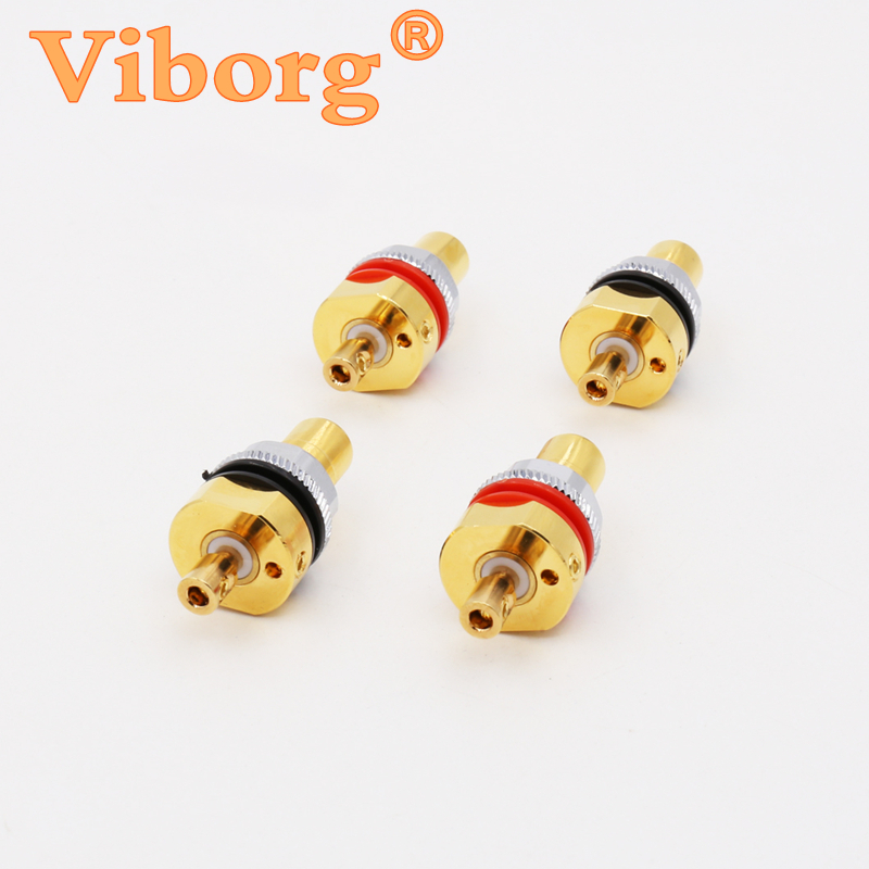 Viborg X 4pcs Hifi Audio amplifier pure copper 99.995% Gold plated Screw RCA Phono Chassis Panel Mount Female sockets adapter viborg audio 8pcs rhodium gold plated rca socket phono chassis female hifi amp