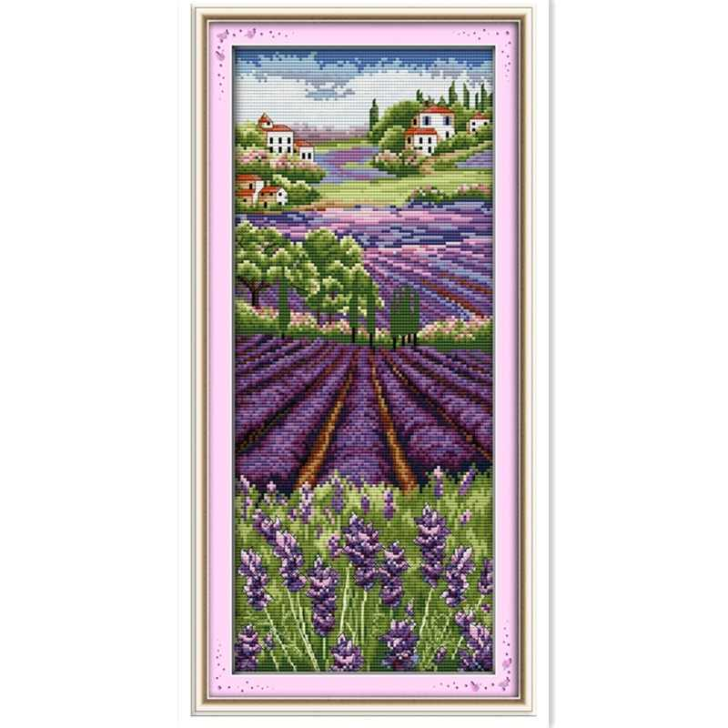 Lavender Champaign Painting Cross stitch kits Embroidery Cross Set Chinese Counted Cross Stitch Pattern 11CT Printed On Canvas