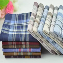 38--38cm Handkerchief Check Cotton Pocket Square Handy Vintage Soft Striped 10pcs/Lot