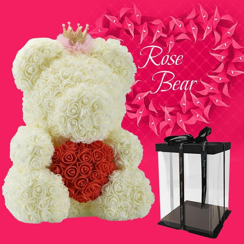 2019 Kunstliche Rosen Teddy Bar Blume Mit Krone Geschenk Box Fur
