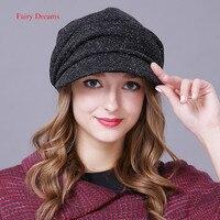 Fairy Dreams Women Flat Caps Autumn Winter Boina Feminina Berets Hat For Girls Warm Brand Black