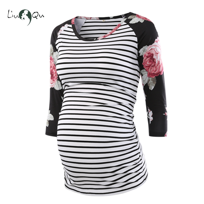 67b7885eba572 Pregnant Blouse Maternity Clothes Side Ruched 3 Quarter Sleeve Tops Striped  Floral Jersey Top Pregnancy Clothes