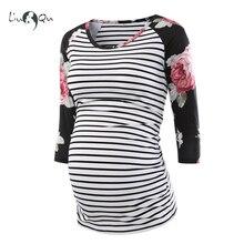 Беременных женщин Одежда для беременных сбоку со сборками 3 четверти рукав, топы в полоску, цветочное Джерси Топ Беременность одежда для Для женщин топы