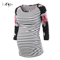 Pregnant Blouse Maternity Clothes Side Ruched 3 Quarter Sleeve Tops Striped Floral  Jersey Top Pregnancy Clothes for Women Tops Pregnancy & Maternity
