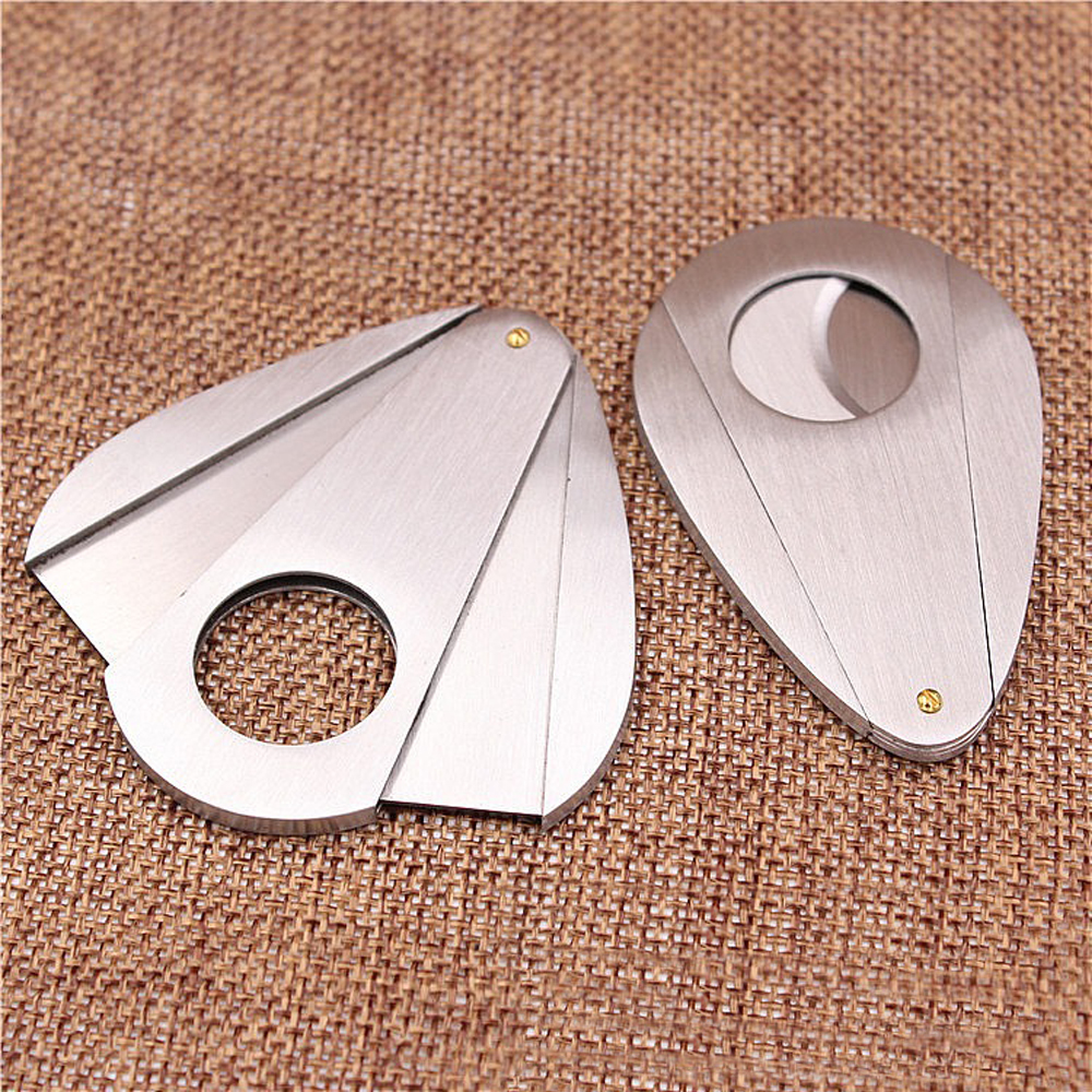 1pc Double Blades Sharp Cigar Cutter Stainless Steel Pocket Gadgets Zigarre Cigarette Knife Cuban Smoking image