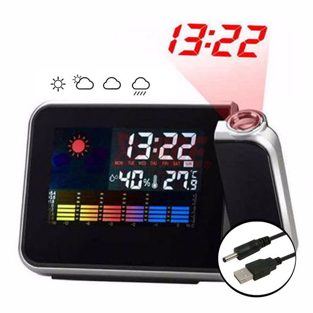 Projector Clock LCD Digital Alarm Clock With Weather Station Electronic Table Watch Nixie Desk Alarm Clock With Time Projection