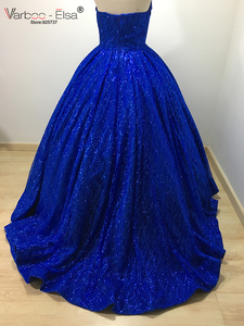 Image 5 - VARBOO_ELSA Hot Sale Sparkly Royal Blue Evening Dress Sequined Sexy V Sleeveless Prom Gown 2018 Custom ballgown vestido de festa