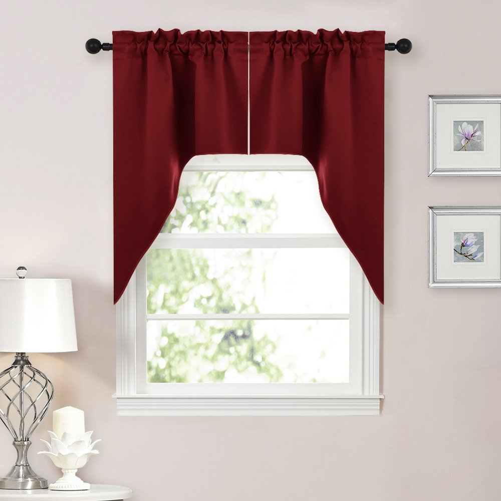 Aliexpress Buy NICETOWN Half Window Rod Pocket Kitchen Tier Curtains Tailored Scalloped Valance Swags For Living Room 1 Set 29 W X 38 L From