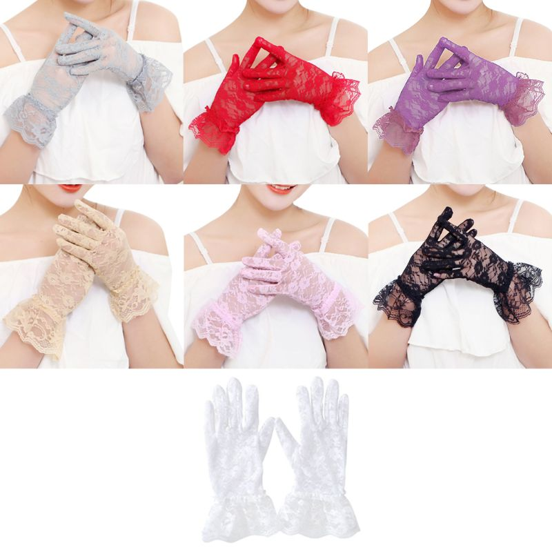 Sexy Dressy Wedding Gloves Women High Quality Paragraph Wedding Gloves Mittens Accessories Full  Girls Lace Fashion
