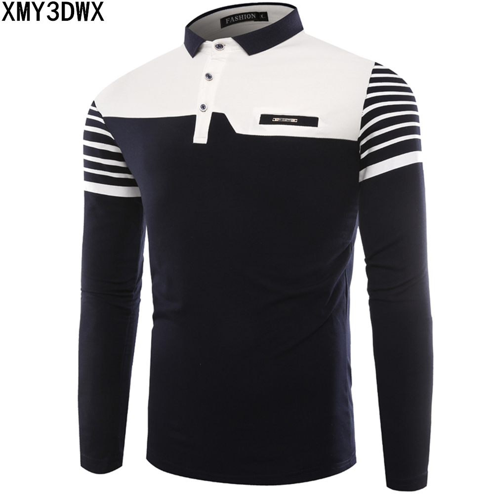 Mens Polo Shirt 2019 Autumn New Korean Version Striped stitching Long Sleeve slim Shirts Cotton Casual Polos Lapel Man Camisa
