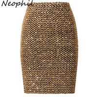 Neophil 2018 Spring Women Sequined Patchwork Shinny Pencil Mini Skirts High Waist Black Party Sexy Bandage