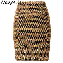 Neophil 2019 Spring Women Sequined Patchwork Shinny Pencil Mini Skirts High Waist Black Party Sexy Bandage