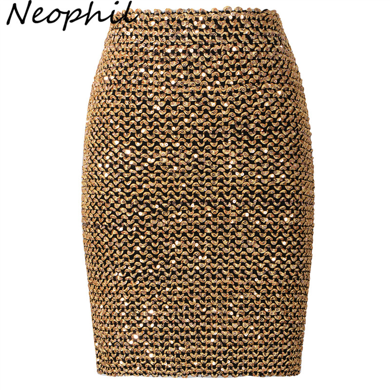 Neophil 2019 Winter Women Sequined Patchwork Shinny Pencil Mini Skirts High Waist Black Party Sexy Bandage Girls Long Saia S1802