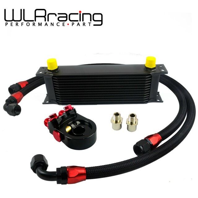 WLR-  Universal 13ROWS OIL COOLER ENGINE KIT +AN10 oil Sandwich Plate Adapte with Thermostat+2PCS NYLON BRAIDED HOSE LINE BLACK zoomer ruckus fi nps50 black engine frame extend extension kit with handle post