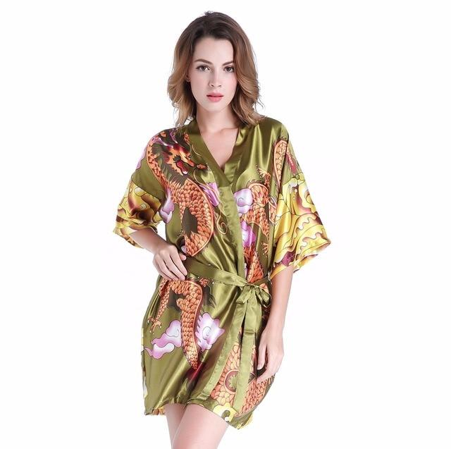 Hot Sale Green Women Faux Silk Kimono Yukata Ladies  Sexy Mini Robe  Dressing Gown With Belt Novelty Dragon Sleepwear One Size f9b3e8241
