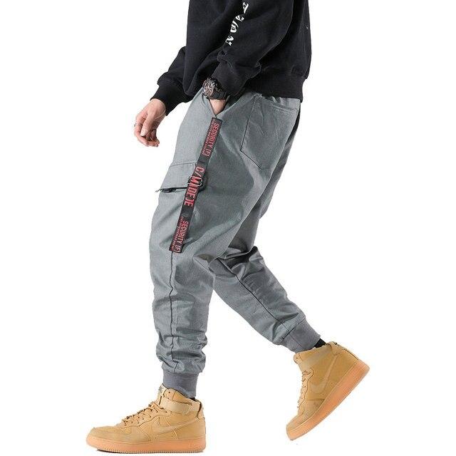 2018 Autumn New Harem Pants Men Grey Cargo pants Casual Male Elastic Waist Side Pockets Joggers Sweatpants Man Trousers