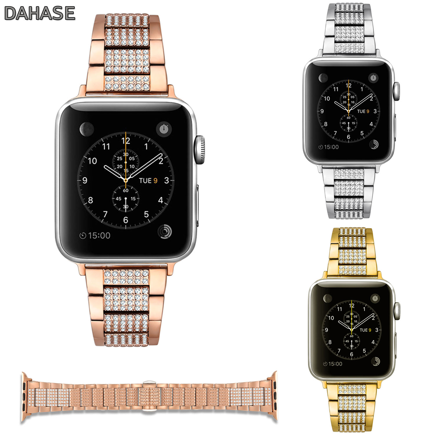 DAHASE Women's Bling Diamond Bracelet for Apple Watch Series 1 2 3 Band Rhinestone Stainless Steel Link Watch Strap 42mm 38mm dahase bling rhinestone link bracelet for apple watch band stainless steel strap for iwatch 38mm 42mm series 1 2 3 belt