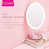 CSISTER LED Makeup Mirror With Light Desktop Vanity Mirror Student Charging Fill Light Folding Dormitory Mirror Lady Makeup Care