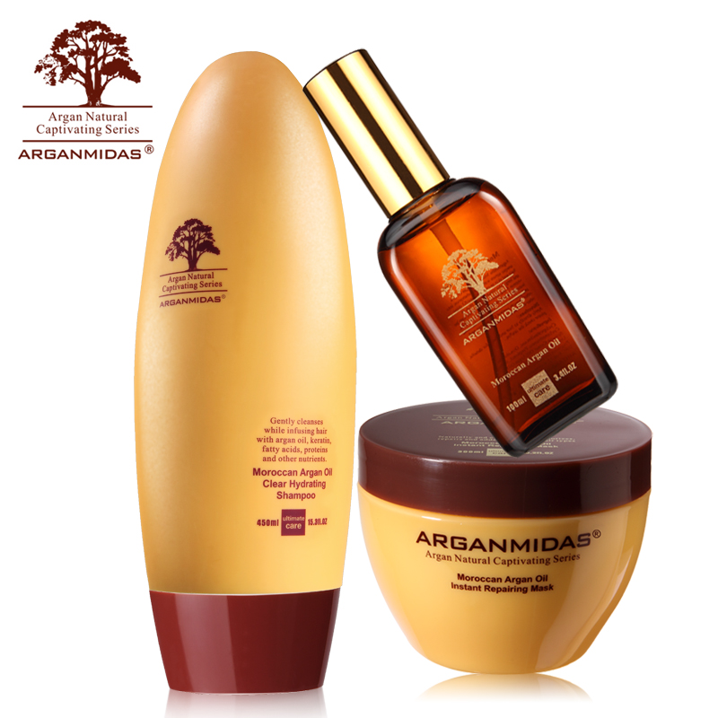 Rich Nutrition Arganmidas 450ml Hair Shampoo+300ml Hair Mask+100ml Argan Oil Smooth Shine Repair Hair Treatment Free Shipping