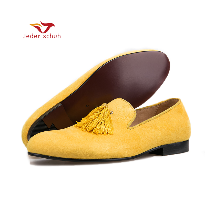 Jeder Schuh yellow color velvet men handmade shoes with exquisite tassel party men loafers plus size men