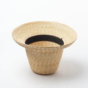 Image 5 - USPOP 2020 yeni kadın yüksek üst hasır şapka doğal buğday samanı güneş şapkası moda yaz kadın plaj şapkası