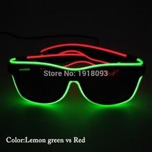 1d90deb508a90 LEVOU Luz neon Duplo Cores EL Fio Incandescente Óculos com escuro lente  Moda Iluminação Do Feriado Adereços Decorativos com Cons.