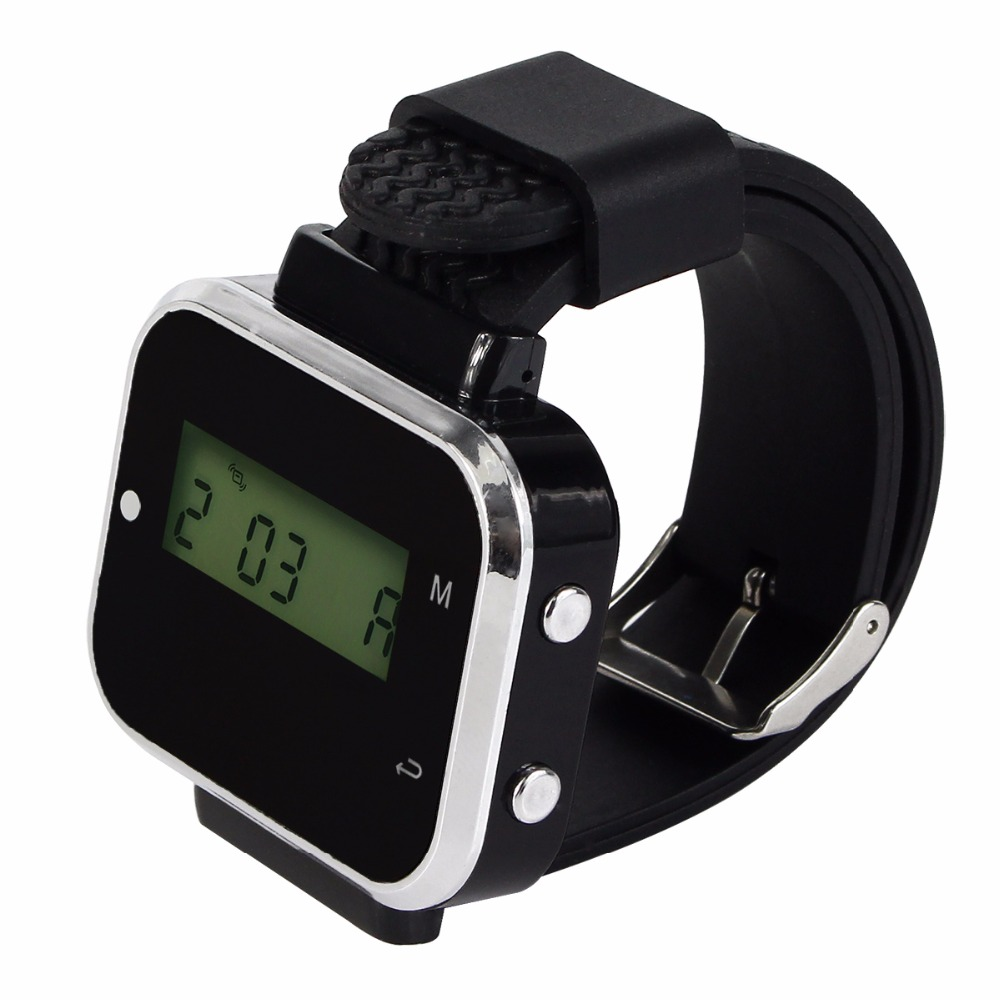 2Pcs 433.92MHz Black Wireless Calling Paging System Watch Wrist Receiver Host Call Pager for Restaurant Factory Office F3300A tivdio 433mhz wireless 2 wrist watch receiver 20 calling transmitter button call pager four key pager restaurant equipment f3285