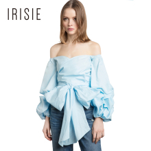 IRISIE Apparel Blue Off Shoulder Female Blouse Shirt Slash Neck Bow Front Sweet Women Blouse Ruched Cute Lantern Shirt Tops
