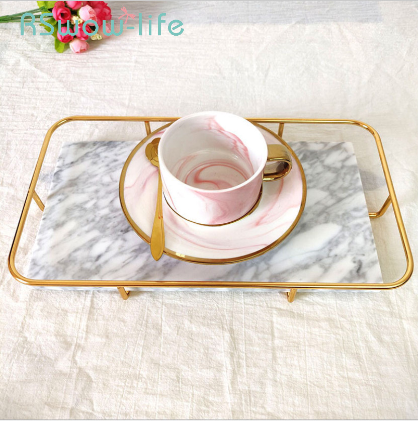 Creative Marbled Metal Trays Fruit Bread Food Tray Home Decoration Ornaments Jewelry Storage Tray Serving Platter For Home in Storage Trays from Home Garden