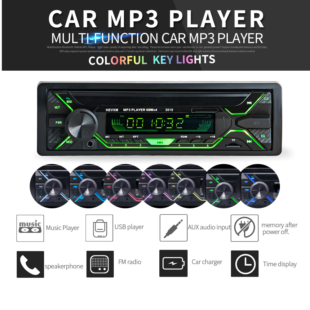 Car Audio Player Radio Stereo Bluetooth Phone AUX-IN MP3 FM/USB/1 Din/remote control 12V Auto for Cars
