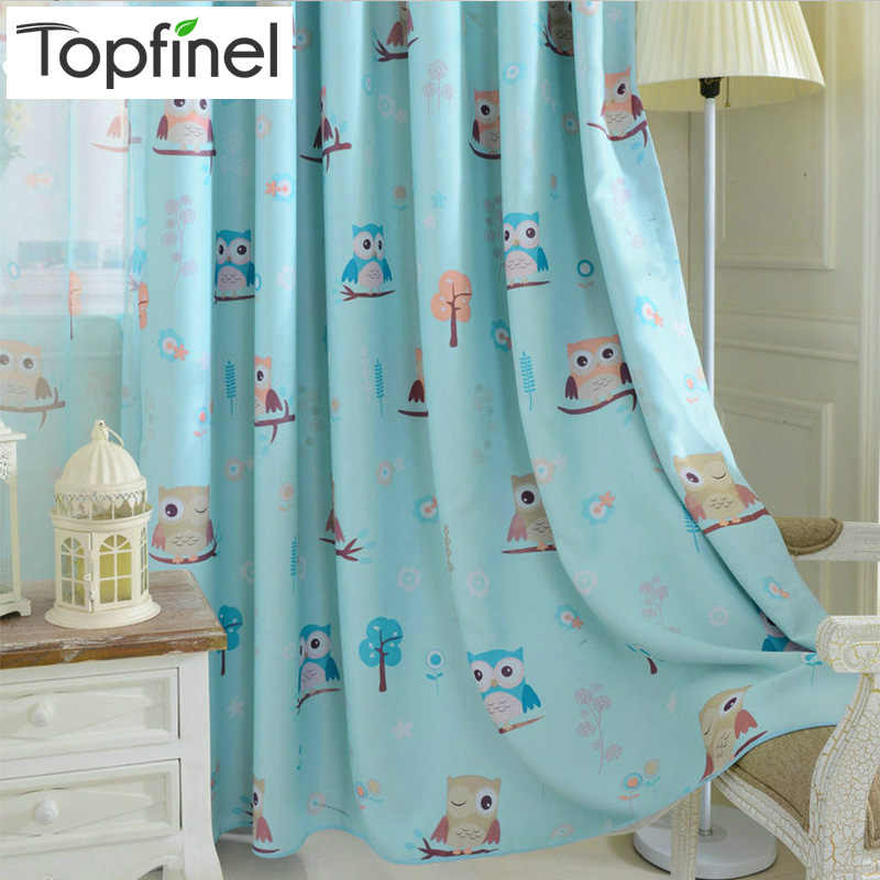 Top Finel Cartoon Bird Pattern Finished Blackout Curtains for Kids Children Living Room the Bedroom Window Curtain Panel Drapes