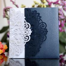 10 шт. Европейский стиль лазерная резка свадебные Приглашения карты Tri-Fold кружева Бизнес приглашения вечерние украшения