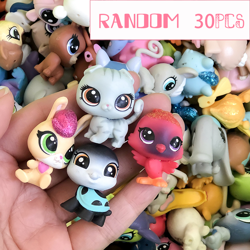 FGHGF 30LPS/LOT LPS Pet Shop Collection Figure Collie Dog Cat Bird Ribbat Animals Loose Cute Kid Toys Figure Gift