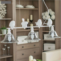 Nordic iron art white iron bird pendant light restaurant garden dining room lamps