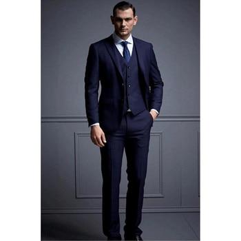 Custom Made Slim Fit Blue Best Man Groomsman Men's Wedding/Prom 3 Piece Suits Groom Tuxedos (Jacket+Vest+Pants) Y313