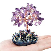 Купить с кэшбэком TUMBEELLUWA Crystal Tree Rainbow Aura Titanium Quartz Cluster Base Bonsai Lucky Money Tree Sculpture Decoration