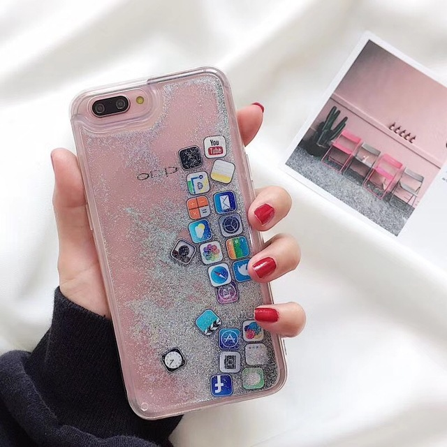 new styles be9ed 47e3a US $3.99 |Phone Case for iPhone 7 3D Cute APP Software Icon Glitter Dynamic  Liquid Gold Silver Quicksand Cover for iPhone 6 6S 8 X Plus-in Fitted ...