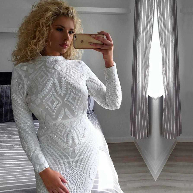 fc9a78508d 2018 Newest Women Fashion White Sequin Dress Top Quality Elegant High Neck  Long Sleeve Bodycon Celebrity Party Dresses Vestidos