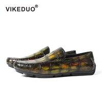Vikeduo ручной работы роскошные вечерние дизайнерские Мокасины аллигатора крокодиловая кожа мужская обувь из натуральной кожи мужская повсед