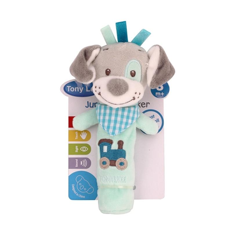 Cartoon Baby Rattles Animal Print Baby Lathe Hanging Ring Rattle Crib Hanging Baby Stroller  Toys Teethers Stuffed Doll