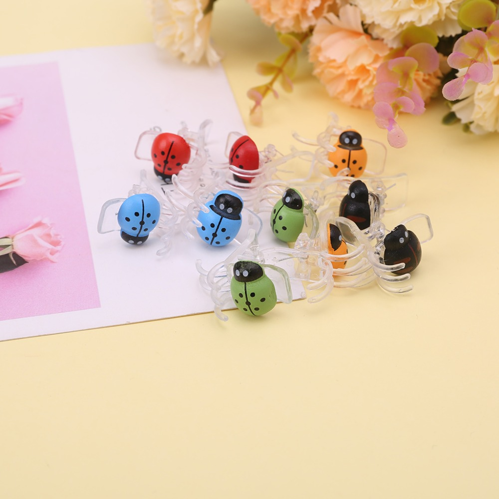 Cute Ladybug Orchid Clips Garden Flower Cymbidium Clips Plant Stem Support Clips For Supporting Stems Stalks Vines Grow Upright