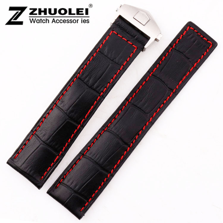 19mm 20mm 22mm High quality Black Alligator Pattern Genuine Leather Watch Bands Straps Bracelets Silver Deployment Clasp Buckle цена