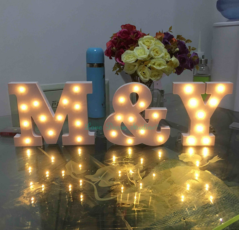 Custom LED Illuminated sign including 3 letters Decorated bedroom (without battery)